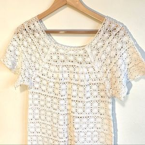 Vintage Tops - Vintage Boho Crocheted Tunic Top Cream Small
